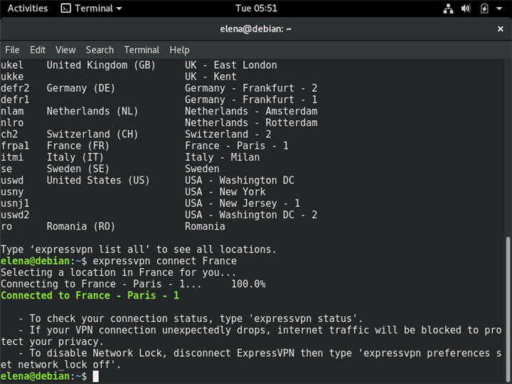 A Terminal in Linux shows how ExpressVPN connects to a country