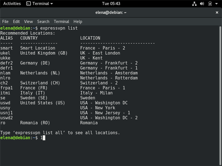 A Terminal in Linux shows the list of ExpressVPN recommended locations