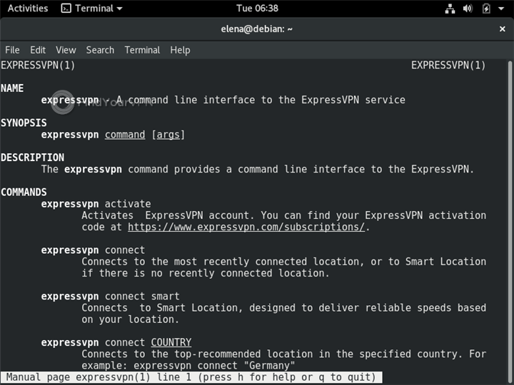 A Terminal in Linux shows the ExpressVPN manual