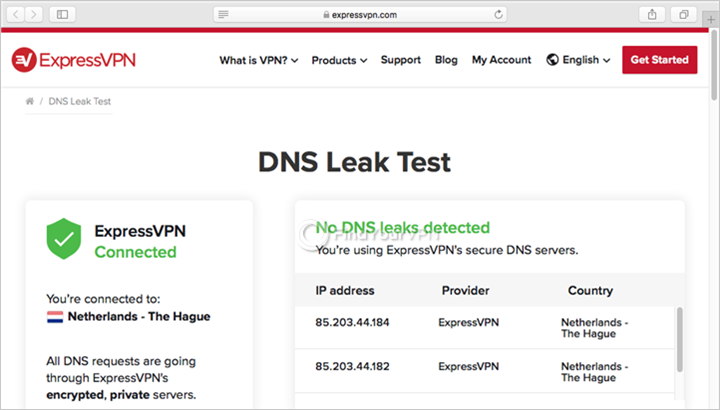 ExpressVPN shows DNS leak test results on Mac