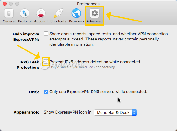 ExpressVPN shows the IPv6 leak protection settings on Mac