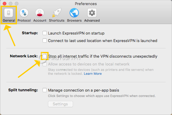 ExpressVPN shows the Network Lock settings on Mac