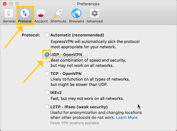 ExpressVPN shows the OpenVPN UDP protocol setting on Mac