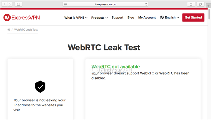 ExpressVPN shows the WebRTC leak test results on Mac