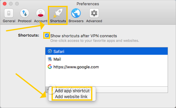 ExpressVPN shows how to add new app and websites shortcuts on Mac