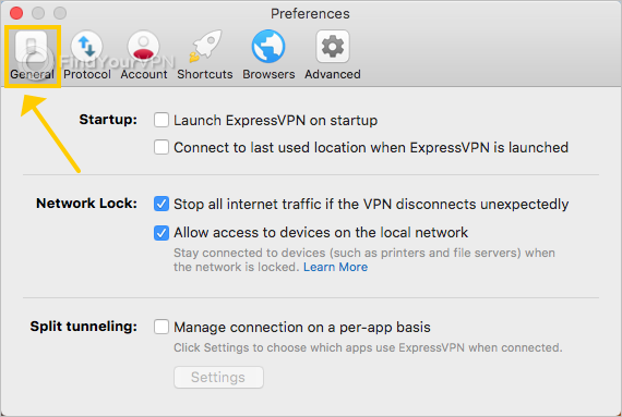 ExpressVPN shows the general preferences on Mac