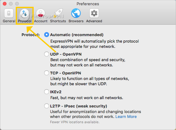 ExpressVPN shows the protocol preferences on Mac
