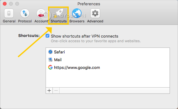 ExpressVPN shows the shortcut preferences on Mac