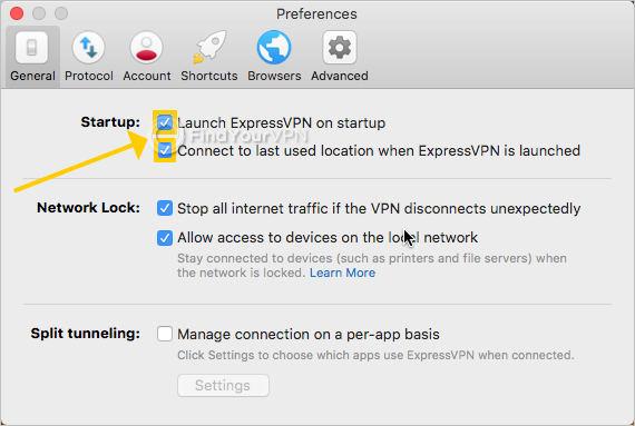 ExpressVPN shows the startup settings on Mac