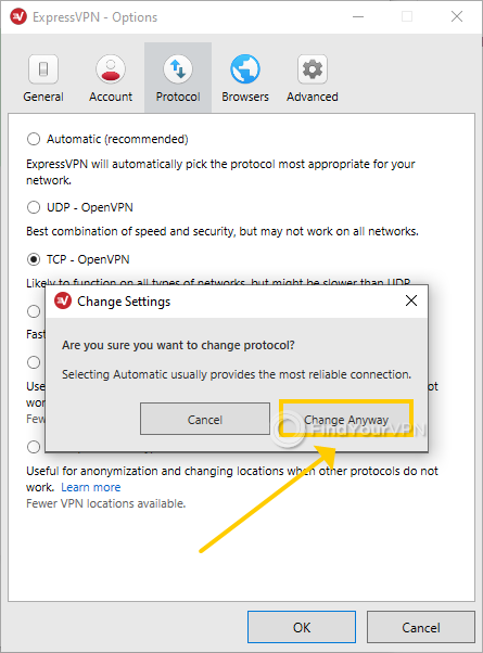 ExpressVPN for Windows asks for confirmation when switching protocols