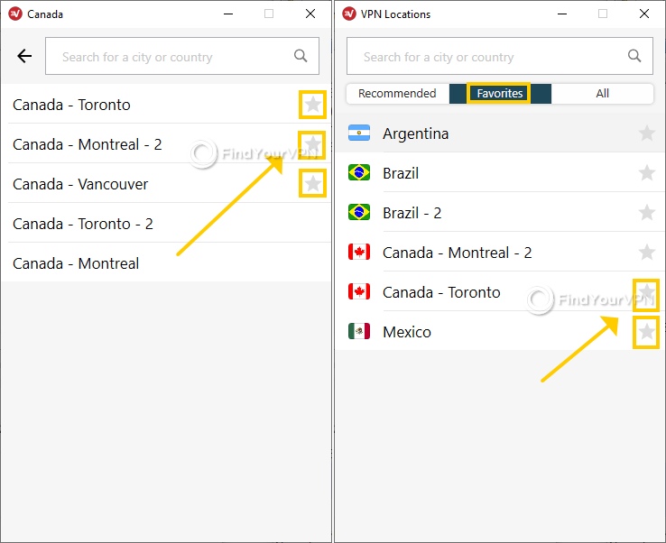 ExpressVPN for Windows shows how to use favorites