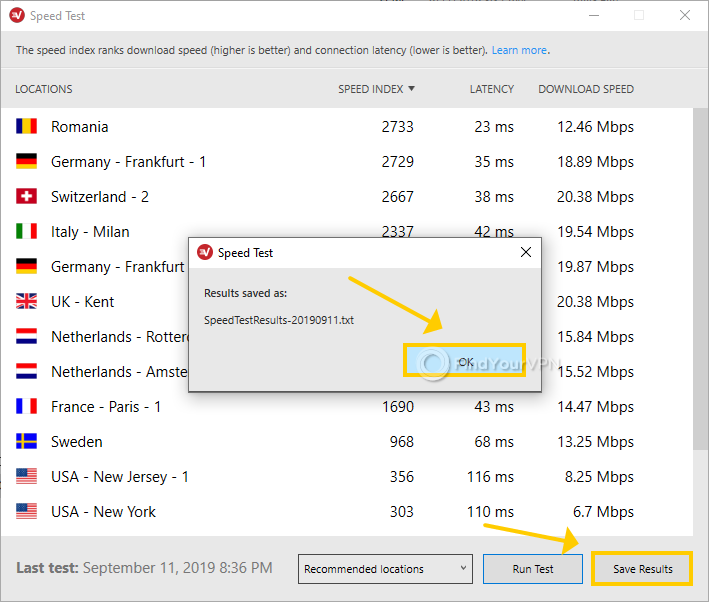 ExpressVPN for Windows shows how to export speed test results