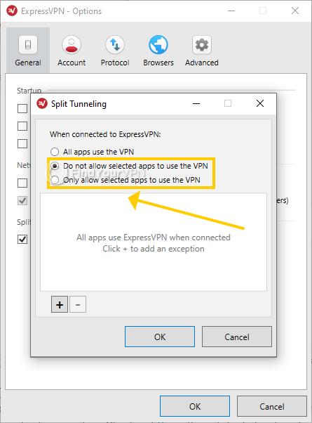 ExpressVPN for Windows shows the whitelist and blacklist options