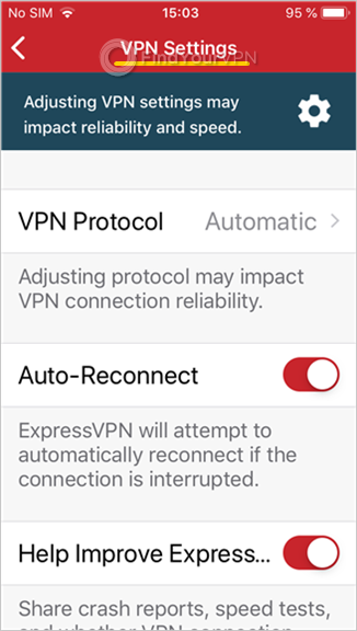 "ExpressVPN shows the ""VPN Settings"" screen in iOS"