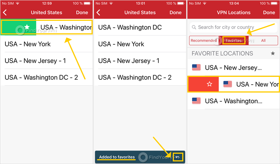 ExpressVPN shows the favorite servers in iOS