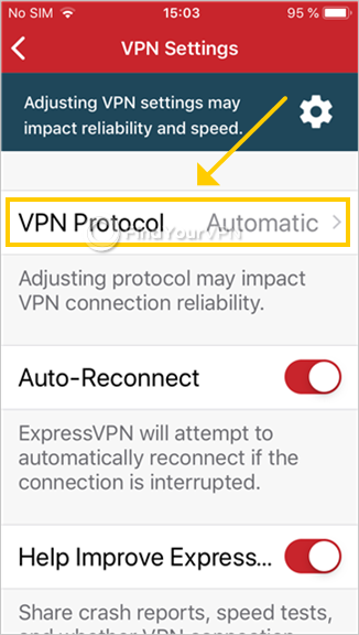 "ExpressVPN shows the settings on iOS and highlights the ""VPN Protocol"" option"