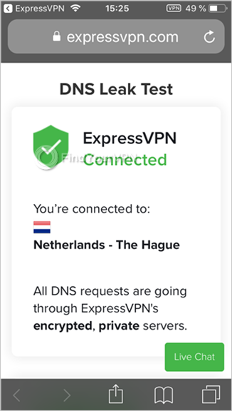 ExpressVPN shows the DNS leak test results