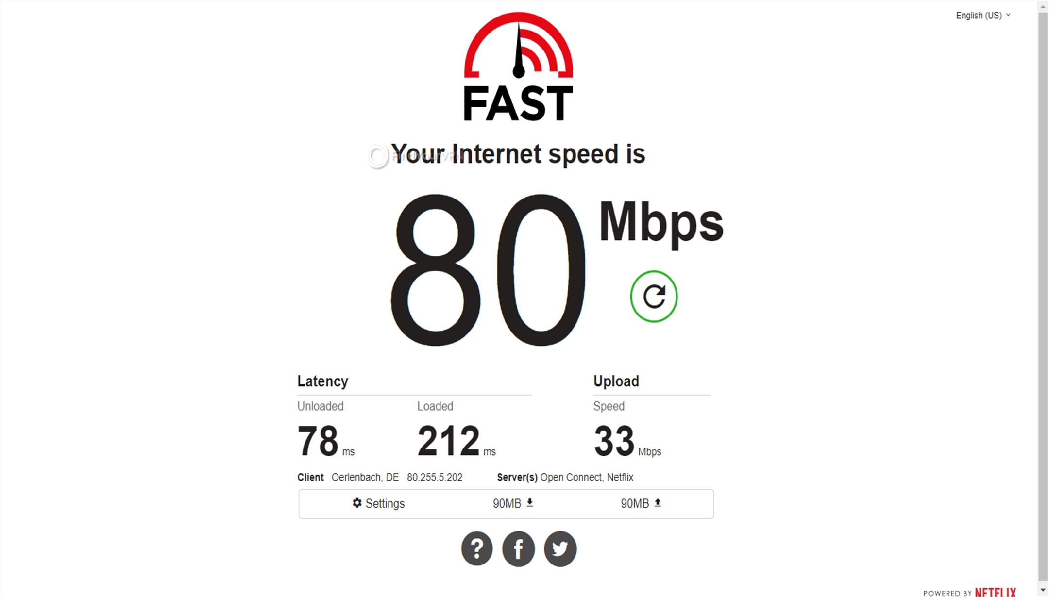 Speed test results for Avast SecureLine VPN Germany