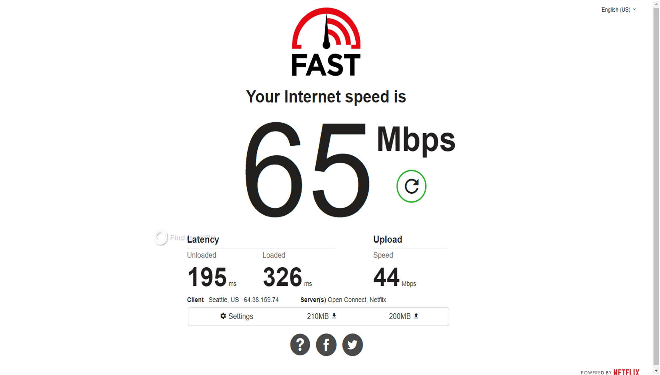 Speed test for NordVPN's Germany server