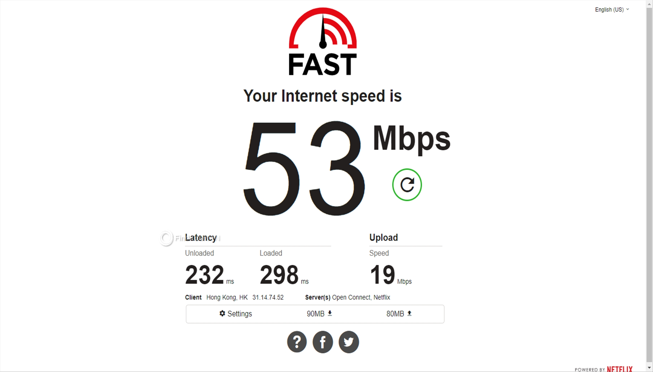 Speed test result Avast SecureLine VPN Hong Kong