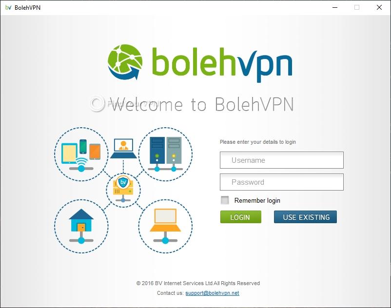 The login screen of BolehVPN