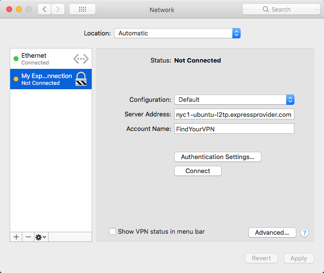 Mac shows how to delete the ExpressVPN manual configuration