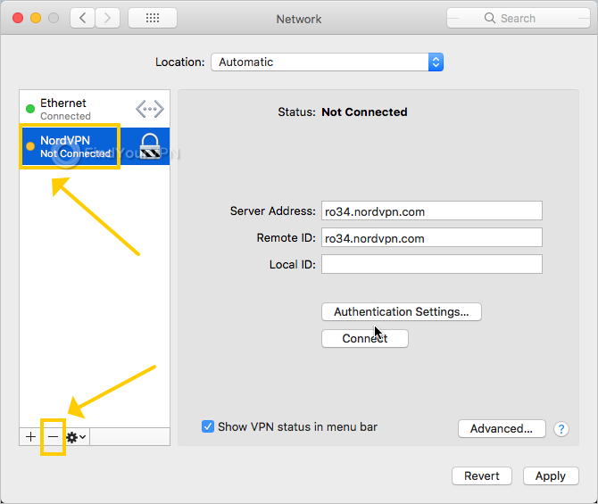 Mac shows how to delete a NordVPN connection