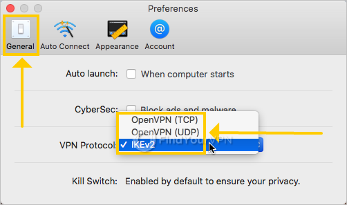 NordVPN IKE shows the VPN protocol preferences