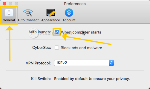 NordVPN IKE shows the auto launch preferences
