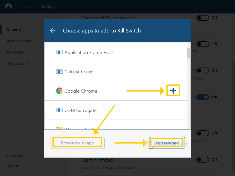 NordVPN shows the list of apps that you can add to the kill switch
