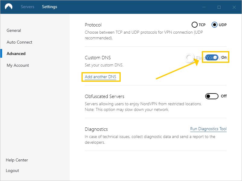 NordVPN shows the custom DNS setting