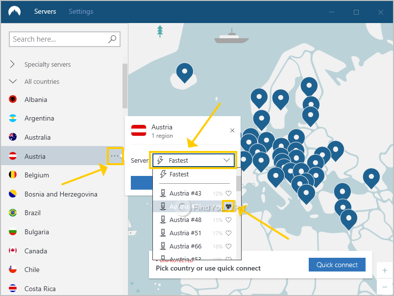 NordVPN for Windows shows how to add favorite VPN servers