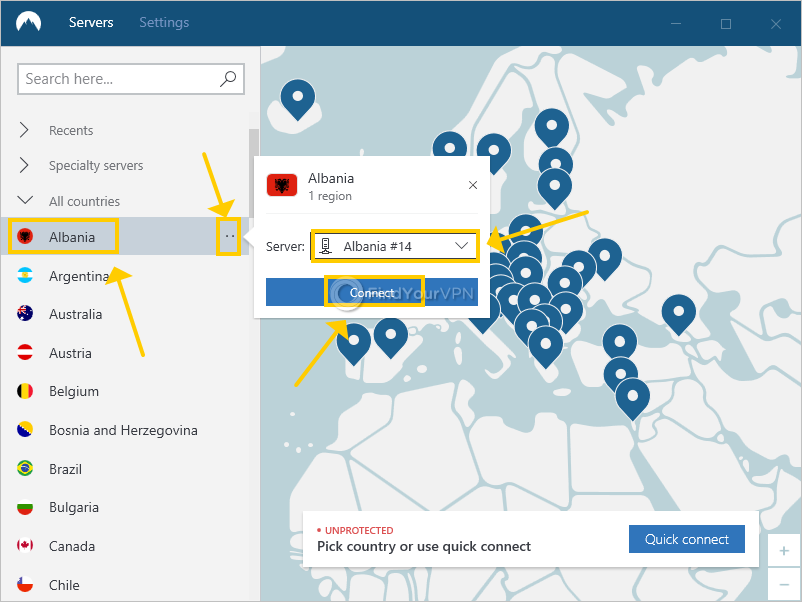 NordVPN for Windows shows how to connect to a VPN server