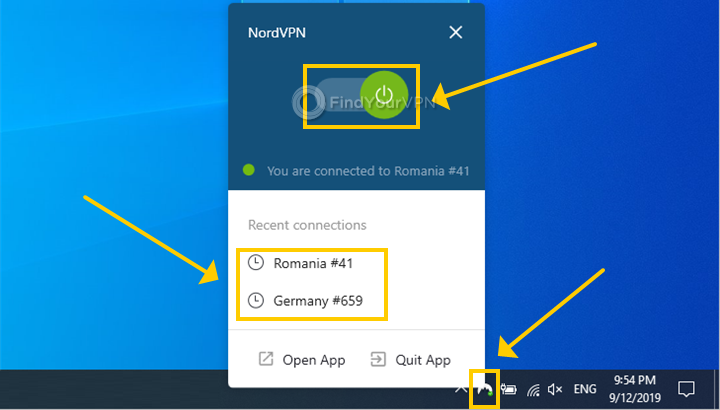 Windows 10 shows the NordVPN systray menu