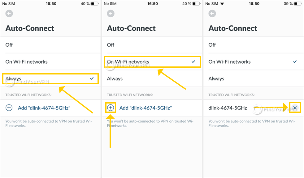 NordVPN shows how to use the auto-connect setting on iOS