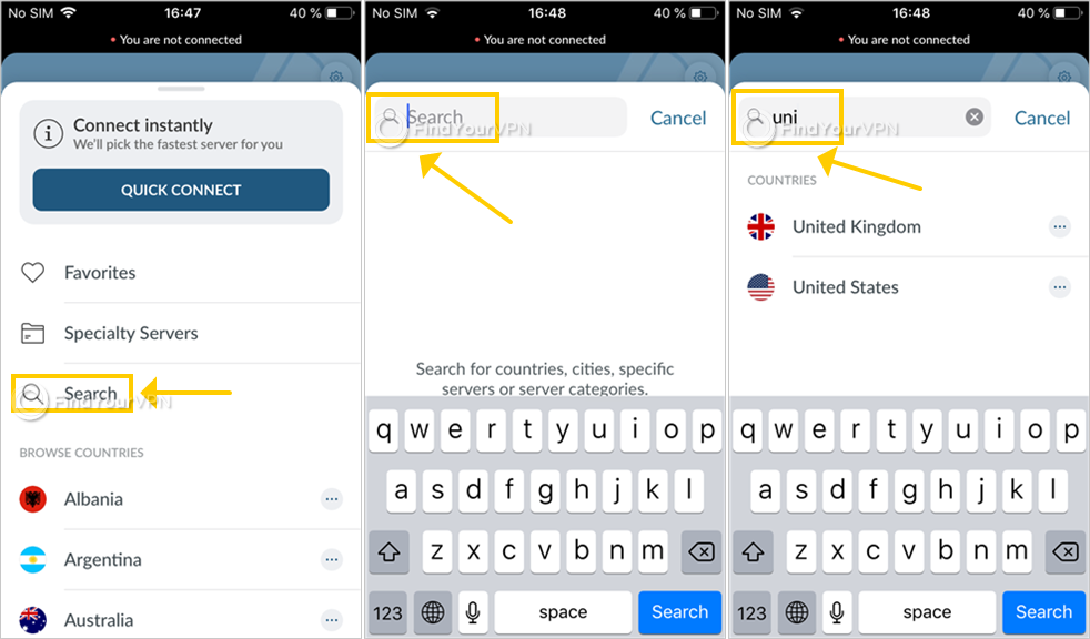 NordVPN shows how to use the search tool on iOS