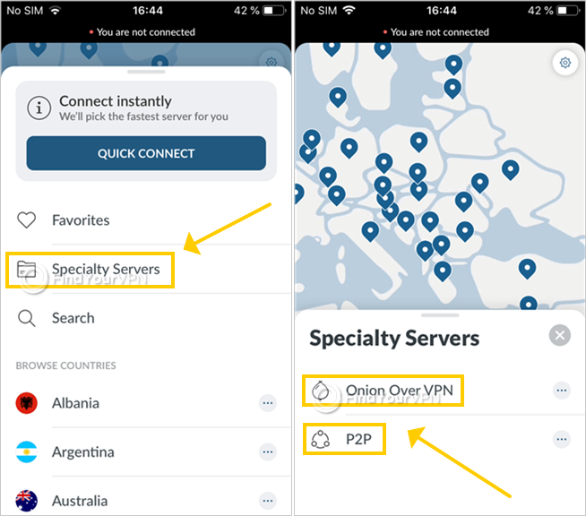 NordVPN shows the specialty servers on iOS