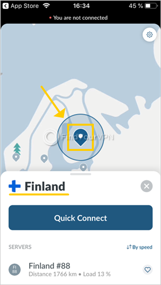 NordVPN shows the world map on iOS