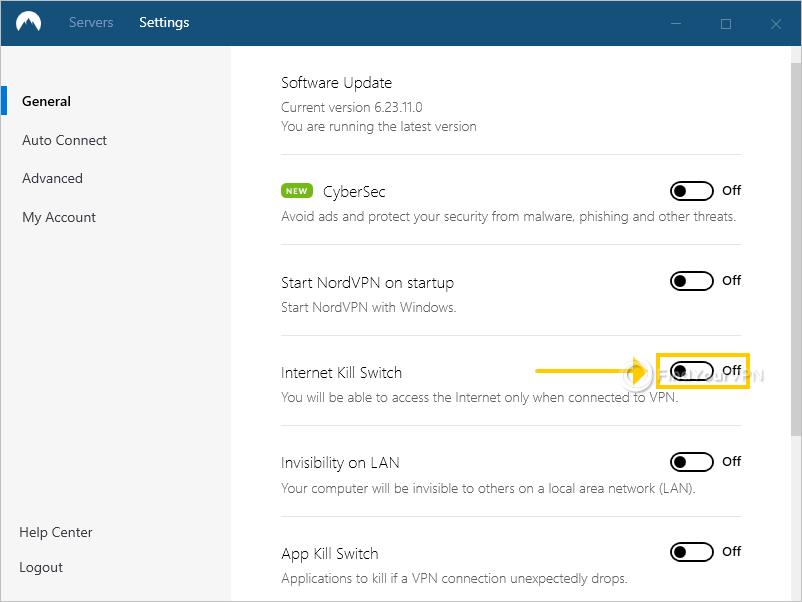 NordVPN shows the Internet Kill Switch setting