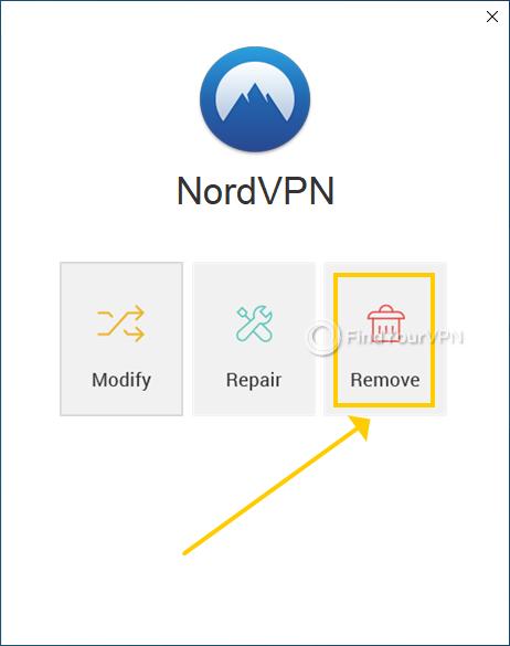 "NordVPN shows the ""Modify, Repair or Remove"" dialog at uninstall"