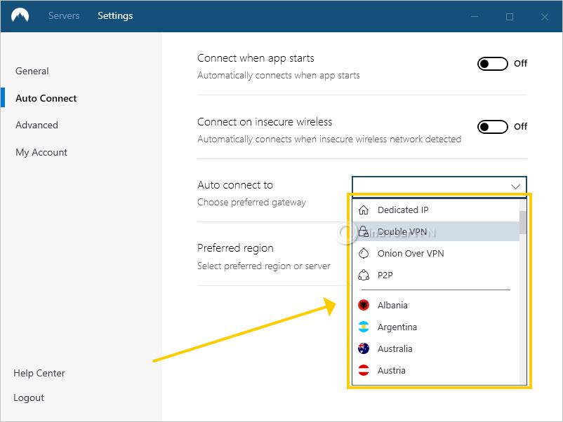 NordVPN shows the preferred gateway setting
