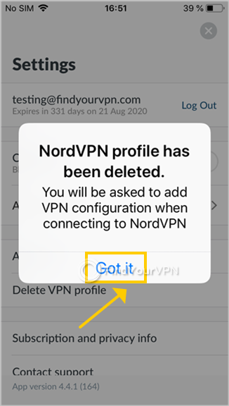NordVPN confirms that the VPN profile has been deleted