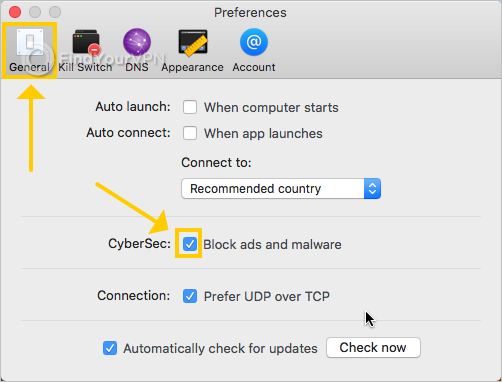NordVPN shows the CyberSec preferences on Mac