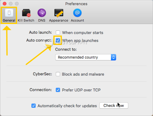 NordVPN shows the auto connect preferences on Mac