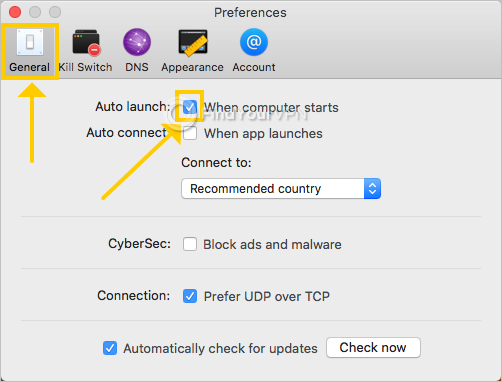 NordVPN shows the auto launch preferences on Mac