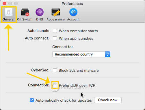 NordVPN shows the connection preferences on Mac