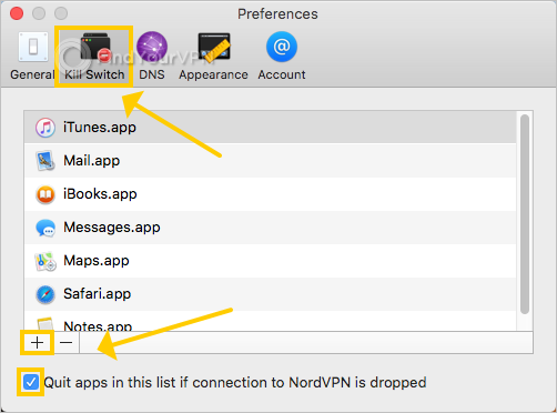NordVPN shows how to use the kill switch preferences on Mac