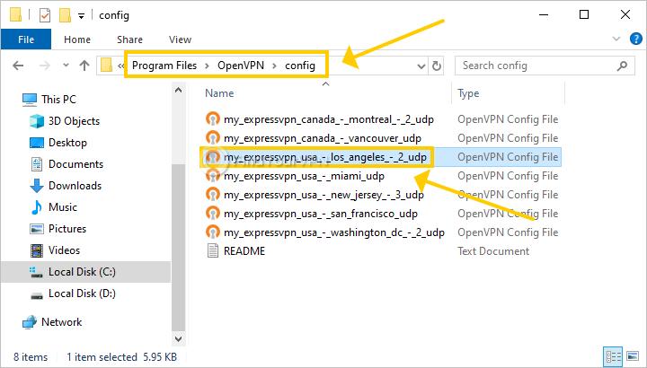 OpenVPN GUI shows the config folder with several ExpressVPN profiles
