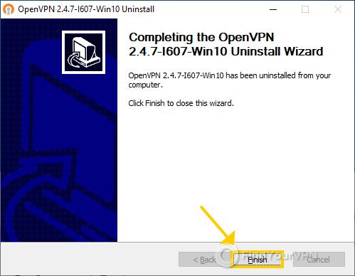 OpenVPN finished uninstallation