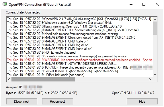 BTGuard has no server certificates on OpenVPN